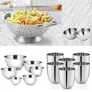 Steel Colander , Bowls & Steel Glasses